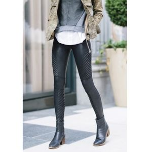 Spanx Faux Leather Moto Leggings in Black NWT